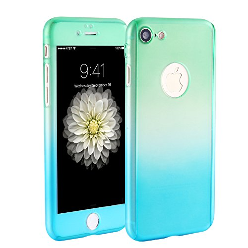Price comparison product image iPhone 7 case,sxxissky[Rainbow Series] 2 in 1 Ultra Thin Full body Coverage [Gradient Ramp Colorful/Green-Blue] with [Tempered Glass Screen] Slim PC Hard Protective Case Cover & Skin for Apple iPhone7