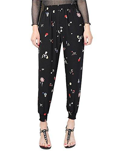 las Mujer Harem Pantalones anchos con Estampado Pantalones Talle Alto Cintura Elástica 3