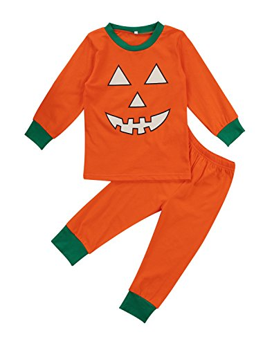 Urkutoba 2 Style Baby Boy Girl Pumpkin Halloween Costume One Piece Pajamas Sleepwear&Kids Pumpkin T-Shirt Pants Halloween Outfit (2-3 Years, Two Pieces)]()
