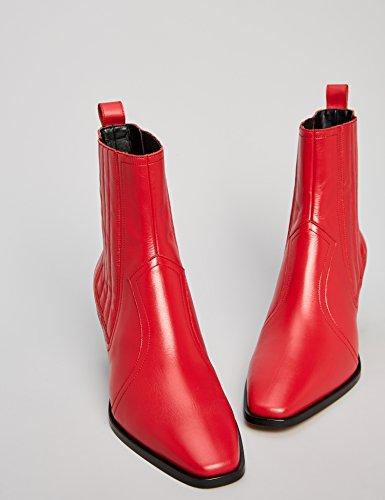 Rouge Red Cubains à Femme Cuir Bottines 007 Talons en FIND wWa80Xqw