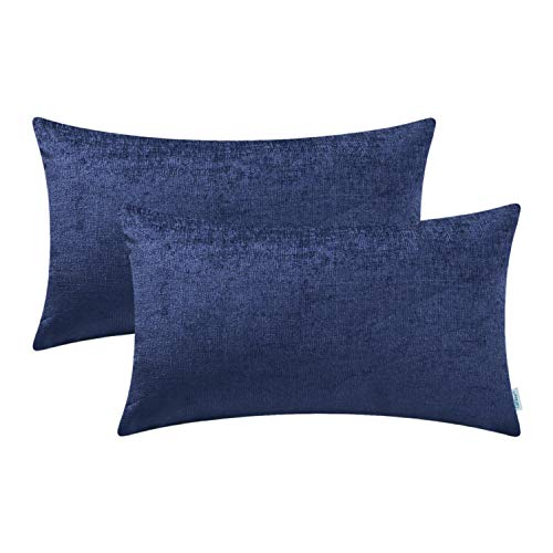 CaliTime Pack of 2 Cozy Bolster Pillow Covers Cases for Couch Sofa Home Decoration Solid Dyed Soft Chenille 12 X 20 Inches Navy Blue