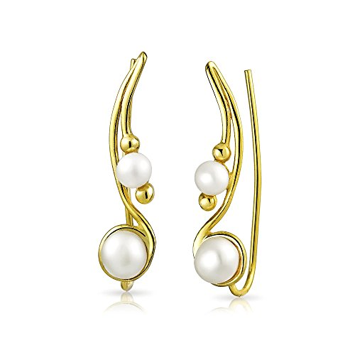 White Freshwater Cultured Pearl Wire Ear Pin Climbers Earrings For Women Round Crawlers 14K Gold Plated Sterling Silver