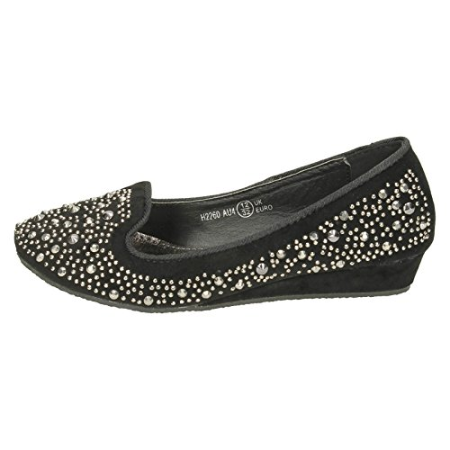 Low Girls Ballerina Wedge Spot Studded Black On Flats qgBH1