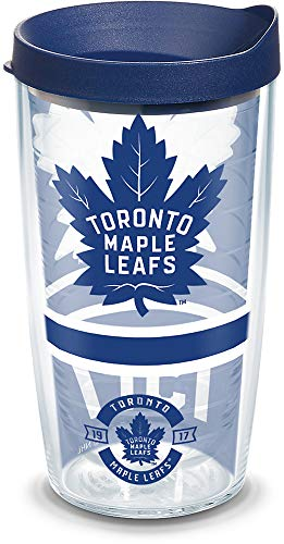 Leafs Maple Mug Travel Toronto (Tervis 1303588 NHL Toronto Maple Leafs Topshelf Topself 16 oz Tumbler with lid 16oz Clear)
