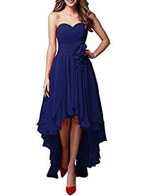 LOVEBEAUTY Women's Chiffon Sweetheart Hi-Lo Bridesmaid Dresses Evening Party Prom Gown