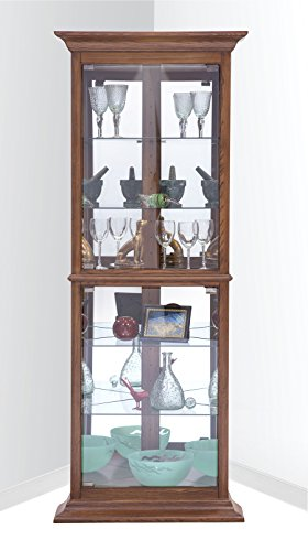 Philip Reinisch Fairfield I Corner Curio/Display, Old Oak Finish