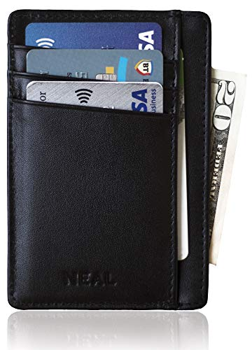 NEAL Slim Front Pocket Wallet, RFID Blocking, Top Grain Leather Thin Card Holder