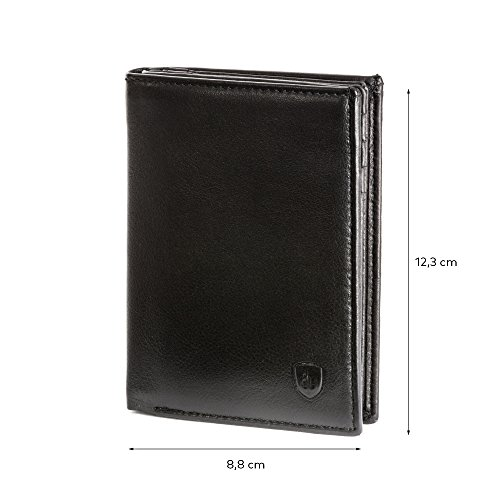 Capacity 16 Collection Slots Leather Plume Credit Black Bart DV Wallet Card Multi ~ Men for Card in Genuine Protector qwCSxn1A