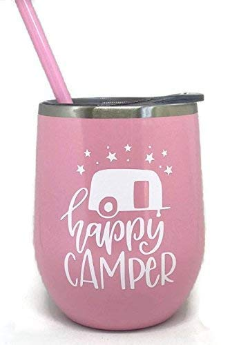 Happy Camper Pastel Pink Stainless Steel Stemless Wine Glass Tumbler Great for Any Occasion Home or Away