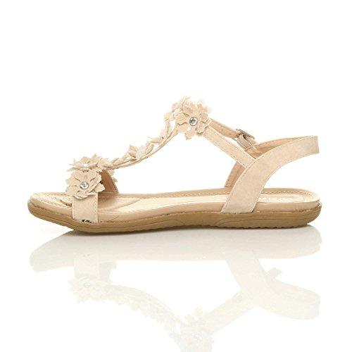 Womens Ladies Flat Padded Comfort t-Bar Buckle Flower Diamante Sandals Size Beige 09zzg2gqlO