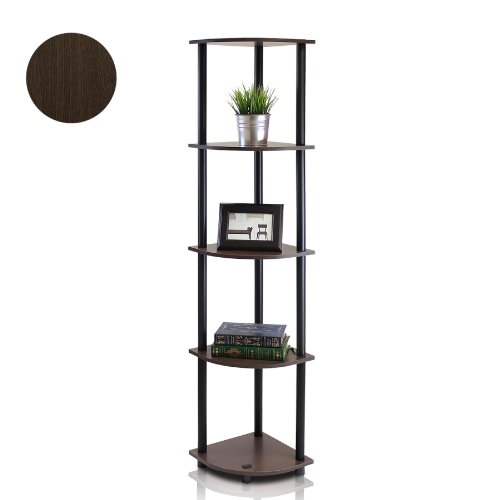 Furinno 99811DB-WG/BK Turn-N-Tube 5 Tier Corner Shelf, Dark Brown Grain/Black (Living Cabinet Corner Room)