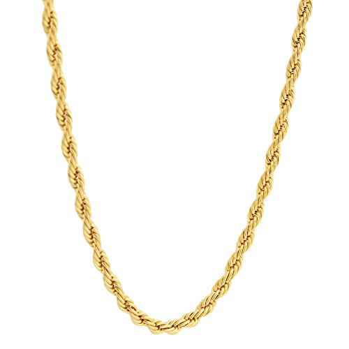 EDFORCE 18k Gold-Plated Stainless Steel 4mm Twist Rope Chain Necklace, 22