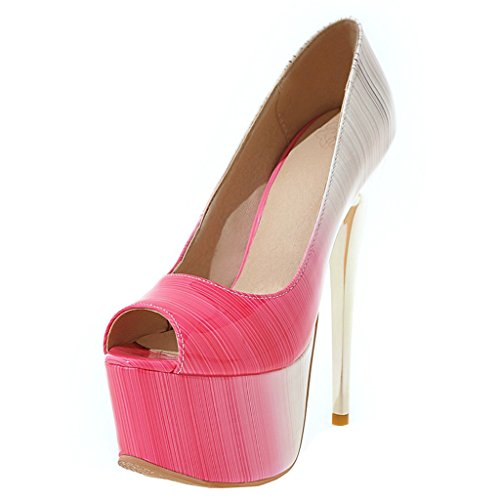 ENMAYER Frauen Rosa#12 Lackleder Sexy Plattform Stiletto Super High Heels Runde und Peep Toe Pumps Slip auf Hochzeitskleid Court Schuhe 35 B(M) EU