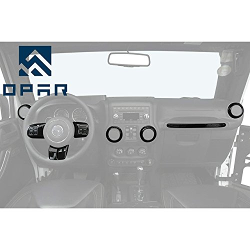 Opar Black Steering Wheel & Air Conditioning Vent & Copilot Handle Cover Trim Kit for 2011 – 2018 Jeep JK Wrangler & Unlimited