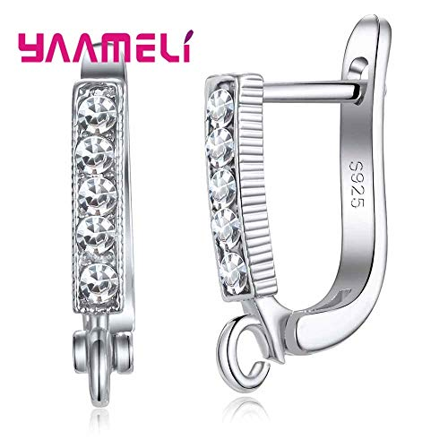 Laliva YAAMELI 925 Sterling Silver Leverback Earwire Austrian Crystal Hoop Earring Findings for DIY Jewelry Connector Making Components