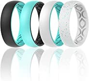 ThunderFit Silicone Wedding Bands for Women, Breathable 2 Layer - 5.5mm Wide - 1.5mm Thick