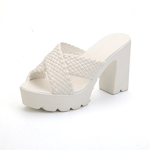 - MODEOK Woven Thick Heel Sandals Summer Platform Slippers Vacation Beach Shoes(White 37/6.5 B(M) US Women)