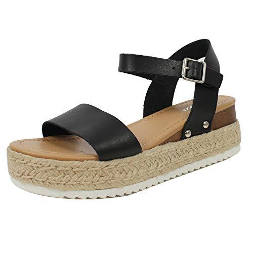 SODA Women's Open Toe Ankle Strap Espadrille Sandal, Black, 6 M US