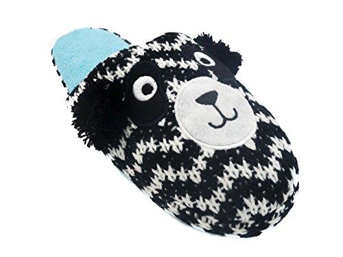 Ladies Animal Zig Zag Knit Slippers with Pom Poms Panda: Black, White & Turquoise