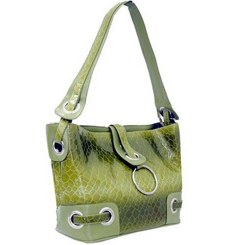 [Dasein Women's Snake Skin Embossed Leather Like Hobo Bag Handbag Purse -Green] (Hobo Purse)