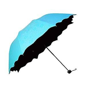 Honeystore Blossom Magic Compact Umbrella Triple Folding Anti-uv Dome Parasol Blue