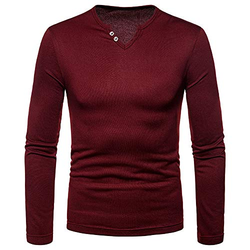 iLXHD 2018 Mens Casual Sweartshirts Solid Long Sleeve V-Neck T-Shirt Blouse Tee(Red,US L/CN XL)