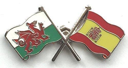 Galles & Drapeau Espagne Double Pin's (épinglette Badge en émail