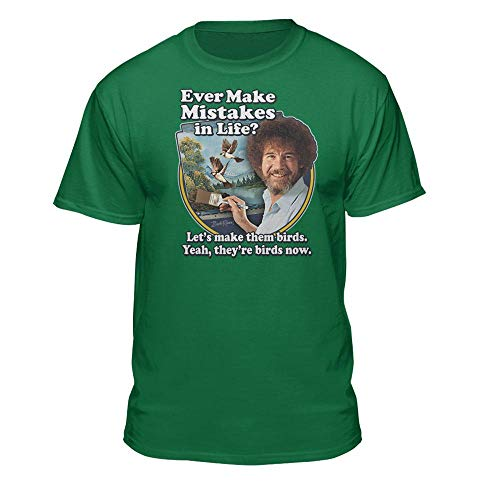 Bob Ross Make Mistakes Into Birds Official Licensed T-Shirt Kelly Green