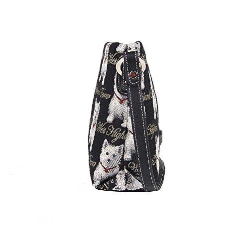 Borsetta donna Signare alla moda in tessuto stile arazzo a spalla borsa messenger a tracolla floreale Westie