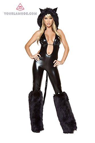 Black Cat Babe Costume Bundle with Women's Stockings (Black Cat Babe Costume)