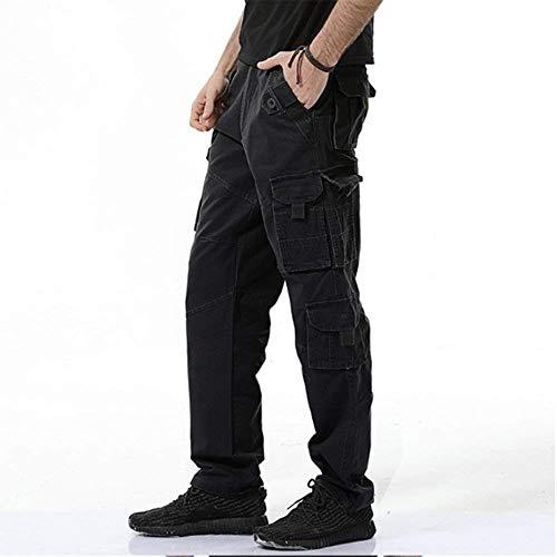 Para Largos Ejercicio Algodón 2018 Negro Hombre Basicas Muchos Con Libre Ocio Al Carga Bolsillos Fitness De Pantalones Aire tqqv1