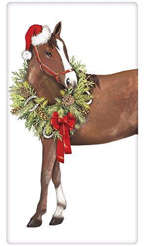 Holiday Horse Wreath 100% Cotton Flour Sack Dish Tea Towe...
