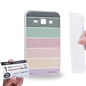 Case88 [Samsung Galaxy J1] Gel TPU Carcasa/Funda & Tarjeta de garantía - Art Coloured Doodle Patterns Pastel Palette 1404