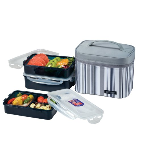 - LOCK & LOCK Rectangular Lunch Box 3-Piece Set with Insulated Gray Stripe Bag