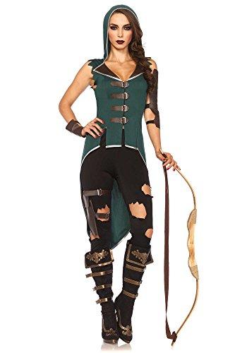 Leg Avenue Women's 5 Piece Rebel Robin Hood Costume, Black/Green, Medium