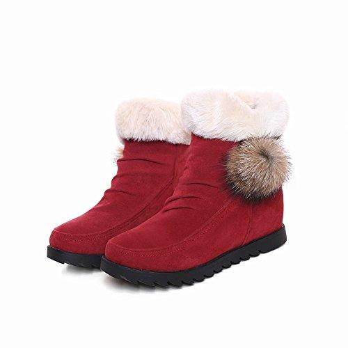 Carolbar Dames Pom-poms Schattige Mode Namaakbont Verborgen Hak Snowboots Rood
