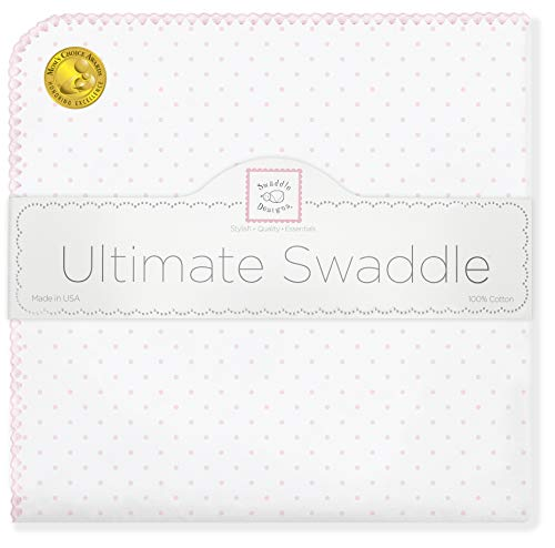 SwaddleDesigns Ultimate Swaddle, X-Large Receiving Blanket, Made in USA Premium Cotton Flannel, Pastel Pink Classic Polka Dots (Mom's Choice Award Winner)