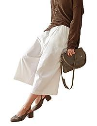 Ecupper Korean Womens Linen Cotton Wide Leg High Waist Cropped Straight Pants