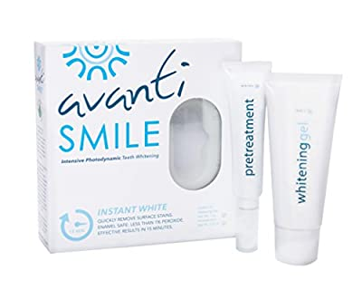 AvantiSmile Teeth Whitening Kit, Whiter Teeth – No Pain! Photodynamic Light-Activated Zero Sensitivity Treatment Less Than 1% Peroxide & Quickly Removes Surface Stains In As Little As 15 Minutes