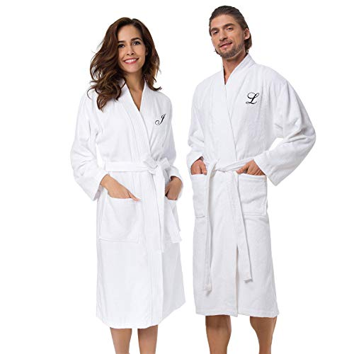 Personalized Terry Cloth Spa Robe - AW Terry Cotton Couple Robe Set Spa Bathrobes, Personalized Embroidery Monogram, White Women and Men Kimono Hotel Robe//CX1901//