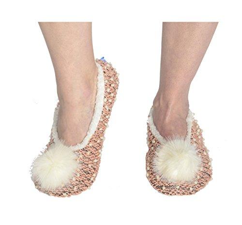 Snoozies Kidz Nubby Knit Ballerina Sherpa Fleece Cozy Slipper Socks - Pink, Medium
