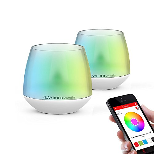 2-Pack PLAYBULB LED Candles Free App - Smart Bluetooth Color Changing Flameless Candles with Timer and APP Remote Control - for Kids / Party / Night Light / Candle Holder / Christmas / Wedding Decor - Mood Light Candles