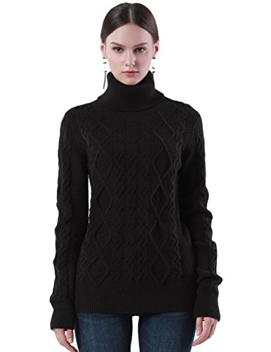 PrettyGuide Women's Turtleneck Sweater Long Sleeve Cable Knit Sweater Pullover Tops M Black (Thick Sweater Wool)