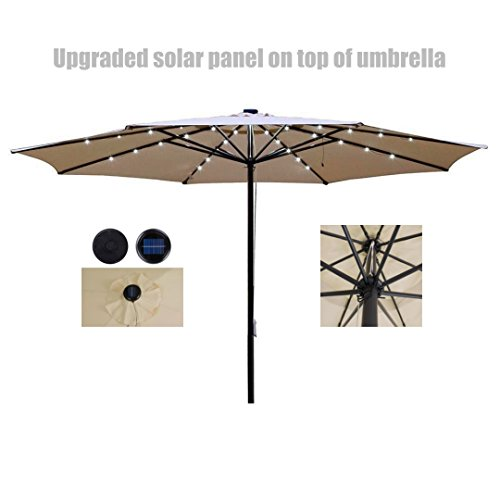 13ft Outdoor Patio Aluminium Umbrella Sunshade UV Blocking W/ Upgrade Solar Panel - Beige - Top Malls Nj In