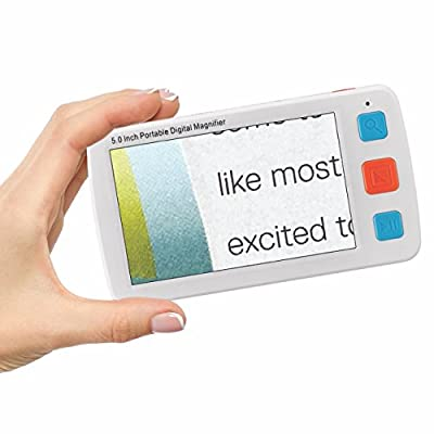 Inventiv 5-Inch Video Magnifier LCD Portable Digital 4x-32x Zoom, Handheld Electronic Reading Aid For Low Vision Impaired, 17 Color Modes, AV/TV Output