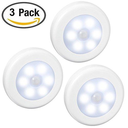 Cdc 3 Pack Motion Sensor Light  Wireless Energy Efficent Led Night Lamp  Auto Sensing Led Closet Lights Stair Lights  Safe Wall Lights For Hallway  Bathroom  Bedroom  Kitchen