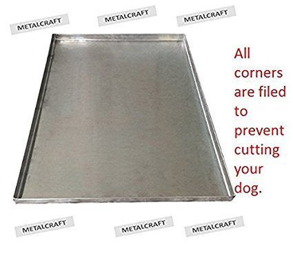 Pinnacle Systems Metal Replacement Tray for Dog Crate – Chew-Proof and Crack-Proof Pan for Dog Crates–Galvanized Metal- 47'' x 29 1/8''