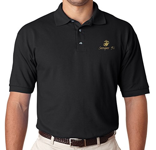 Armed Forces Depot U.S. Marine Corps Semper Fi Polo Shirt. Black (XL) - Marine Corps Polo Shirts