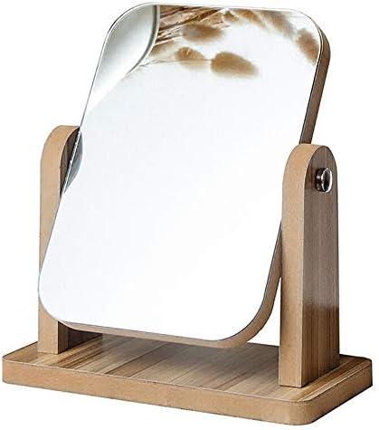 WJMLS 卓上化粧鏡、長方形、木製デスクトップ化粧鏡ハイリストフェイスドレッシングミラー化粧鏡学生寮デスクトップミラー (色 : ブラウン ぶらうん, サイズ さいず : S s)