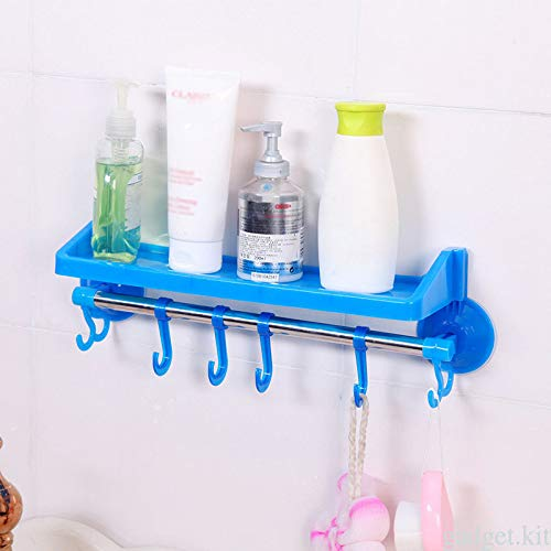 (Agordo 6 Hooks Towel Hanger Wall Mounted Suction Cup Stainless Steel Holder Rack)